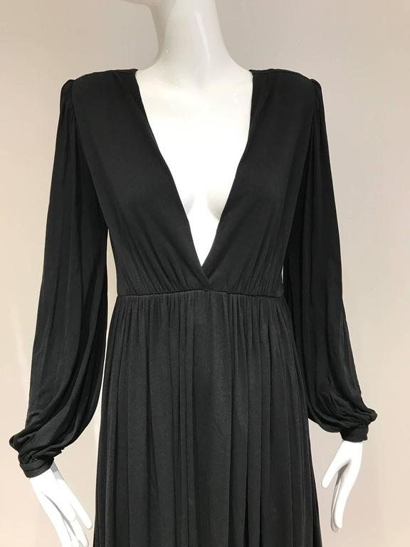 1970s Yves Saint Laurent black jersey V neck dress 2