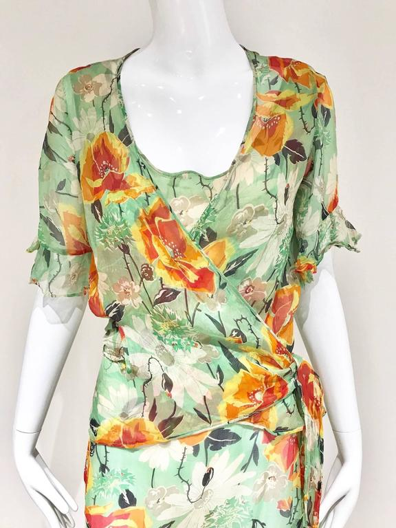 1930s Floral print silk dress with wrap jacket. Delicate pieces. Size 6 lining need to be replaced.