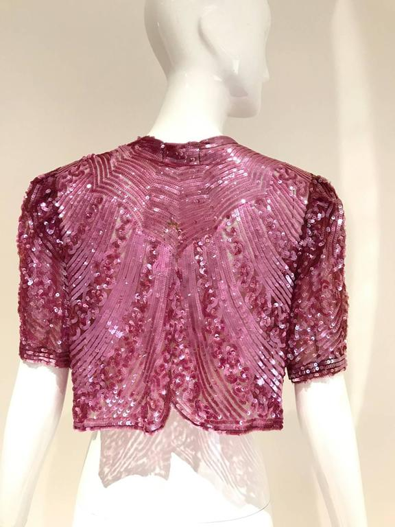 1930s incredible raspberry pink sequin cropped bolero jacket. Made in France. Fit size 2/4