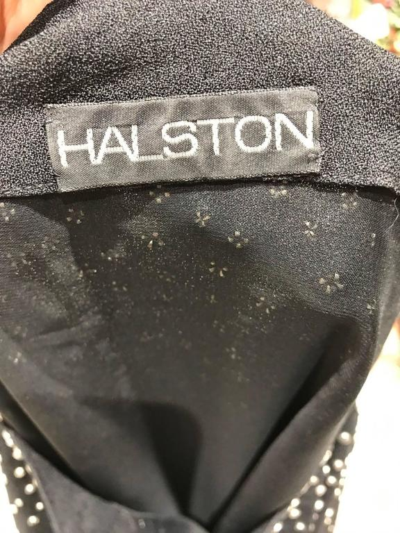 Vintage Halston  Black Crepe Studded Cocktail Dress In Excellent Condition For Sale In Beverly Hills, CA