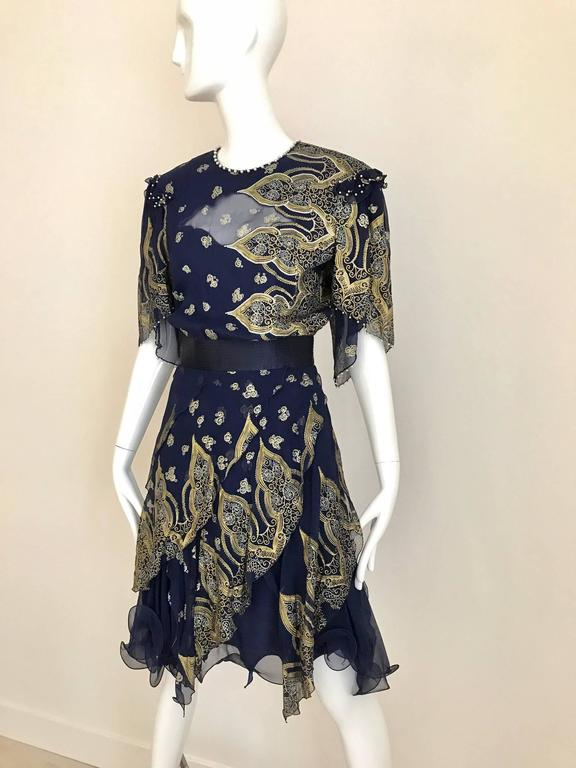 Black Vintage Zandra Rhodes 1980s Blue and gold hand print silk cocktail dress For Sale