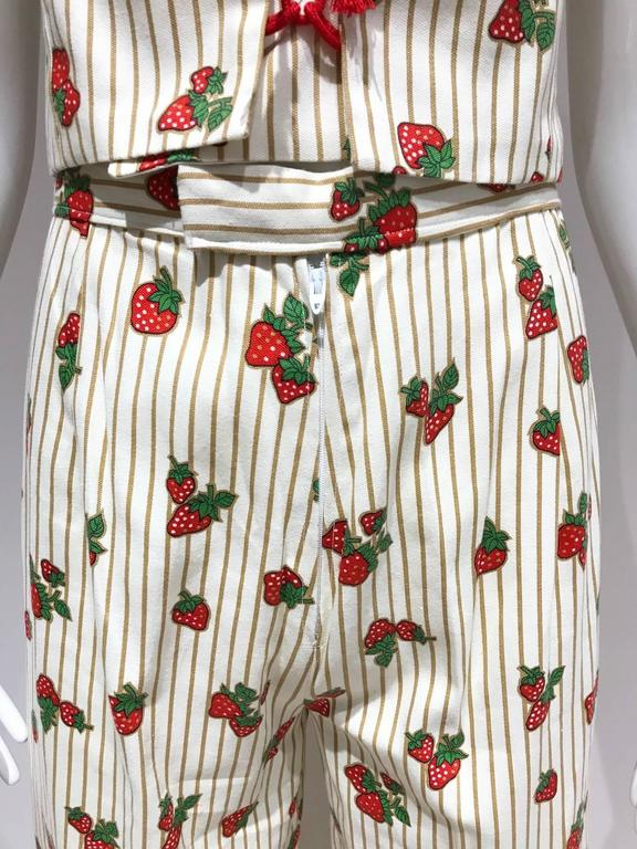 Beige Vintage 1970s Strawberry Print Cotton Crop Top Bustier and Pant Set  For Sale