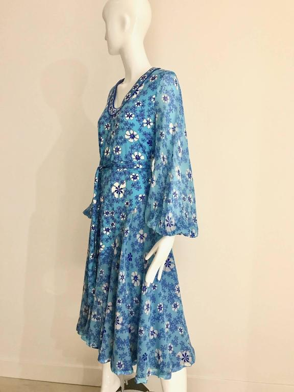 Blue 1970s Light silk jersey Bessi blue and white floral  print summer dress For Sale