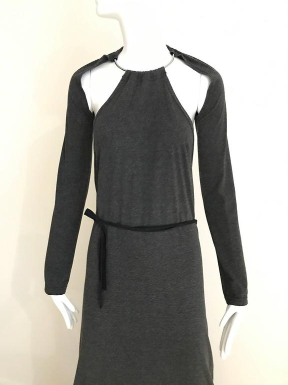 1990s Martin MARGIELA Grey Knit Halter Dress with detachable sleeve with Halter metal collar neckine and exposed back. Fit size 4/6