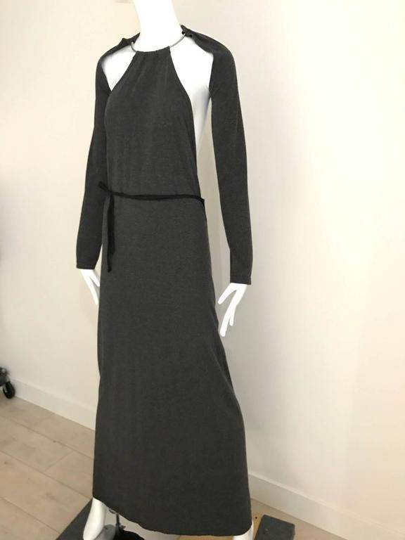 Margiela Grey Knit Halter Dress with Detachable  Long Sleeve For Sale 2