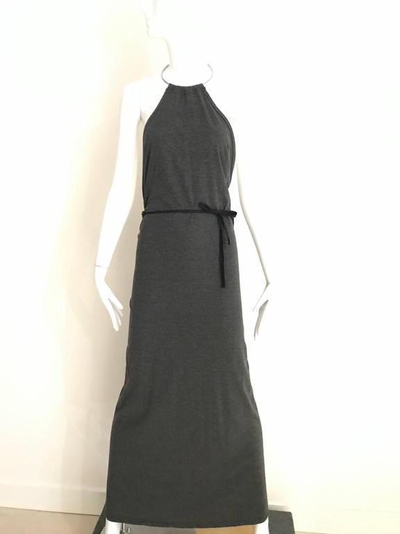 Black Margiela Grey Knit Halter Dress with Detachable  Long Sleeve For Sale
