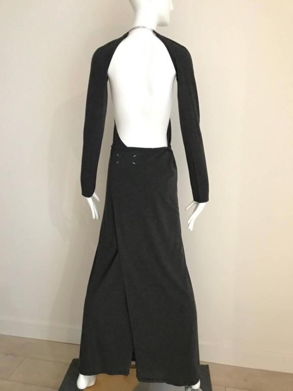 Margiela Grey Knit Halter Dress with Detachable  Long Sleeve In Good Condition For Sale In Beverly Hills, CA
