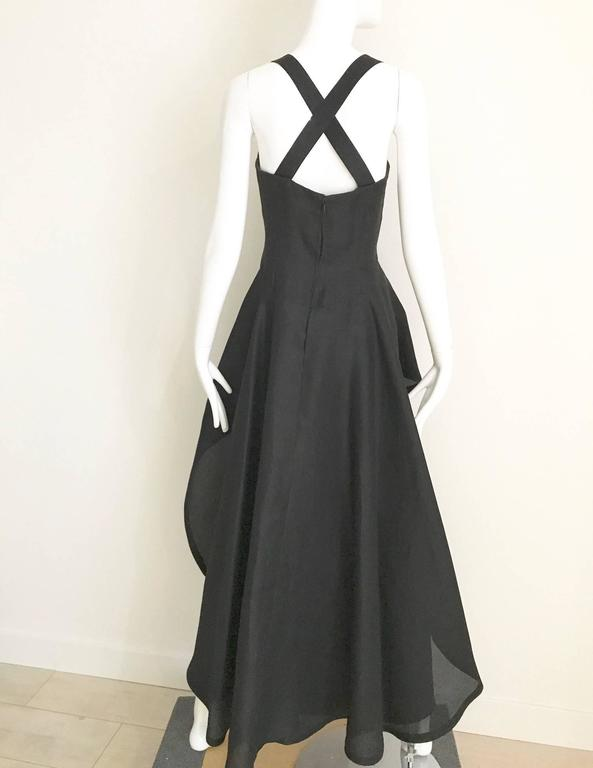 Black Givenchy black silk organza gown, 1970s  For Sale