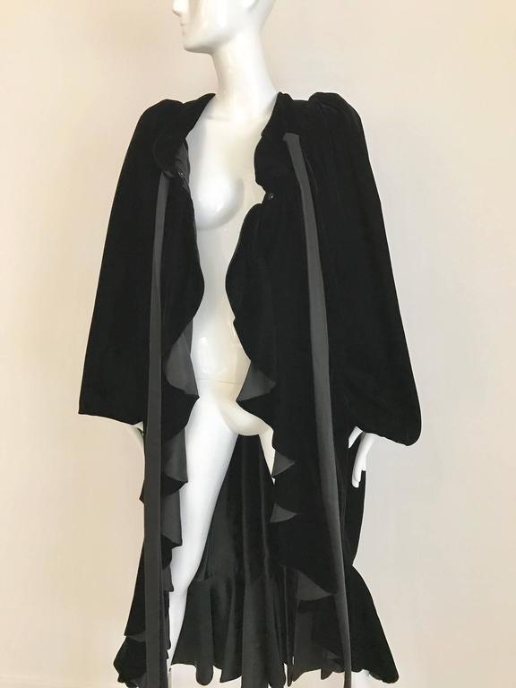 Black Vintage Yves Saint Laurent black  silk velvet evening coat  For Sale