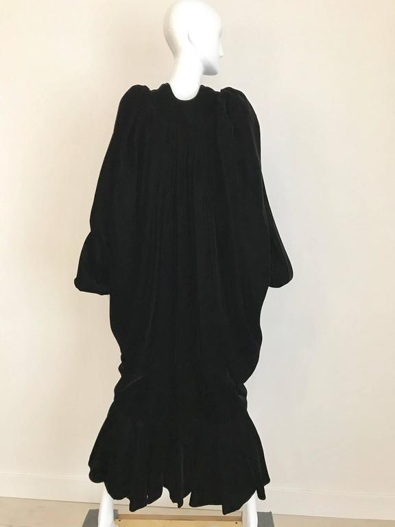 Vintage Yves Saint Laurent black  silk velvet evening coat  For Sale 1