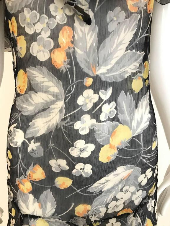 1930s floral print black, grey, orange floral print silk chiffon day dress For Sale 2