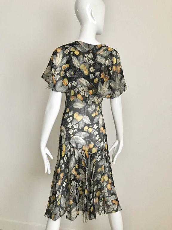 Gray 1930s floral print black, grey, orange floral print silk chiffon day dress For Sale