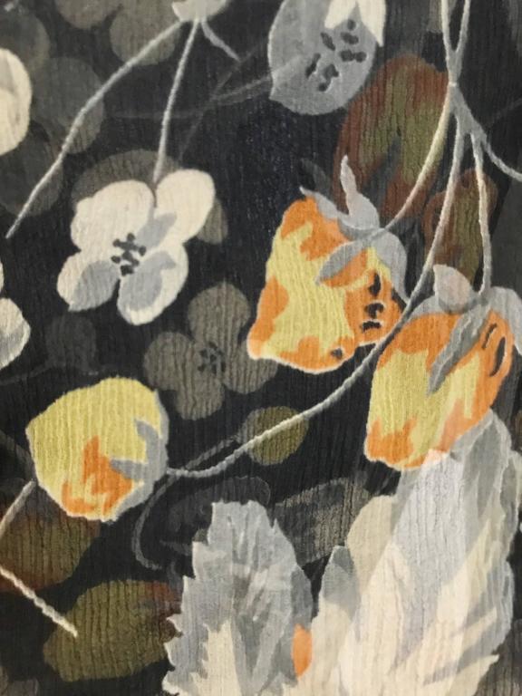 Women's 1930s floral print black, grey, orange floral print silk chiffon day dress For Sale