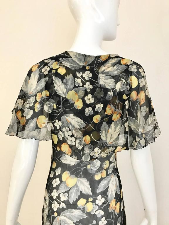 1930s floral print black, grey, orange floral print silk chiffon day dress For Sale 1