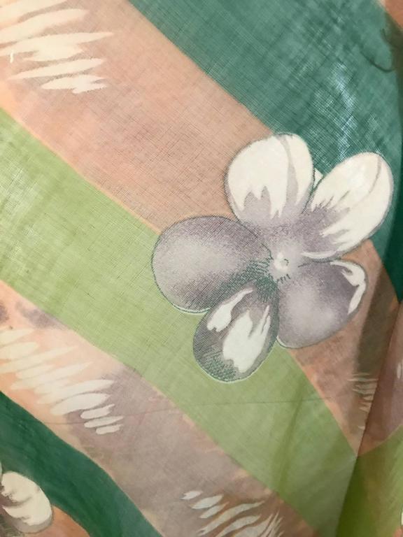 1930s Green floral print silk organza summer dress For Sale 1