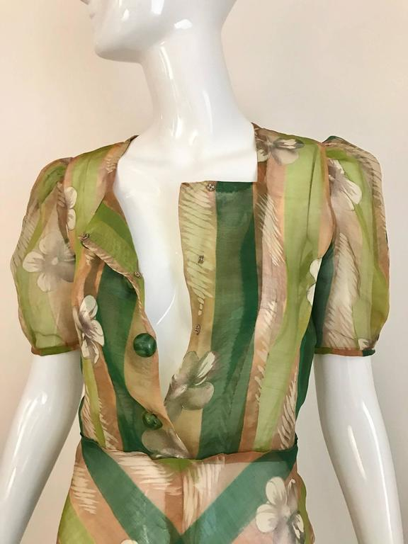 Women's 1930s Green floral print silk organza summer dress For Sale