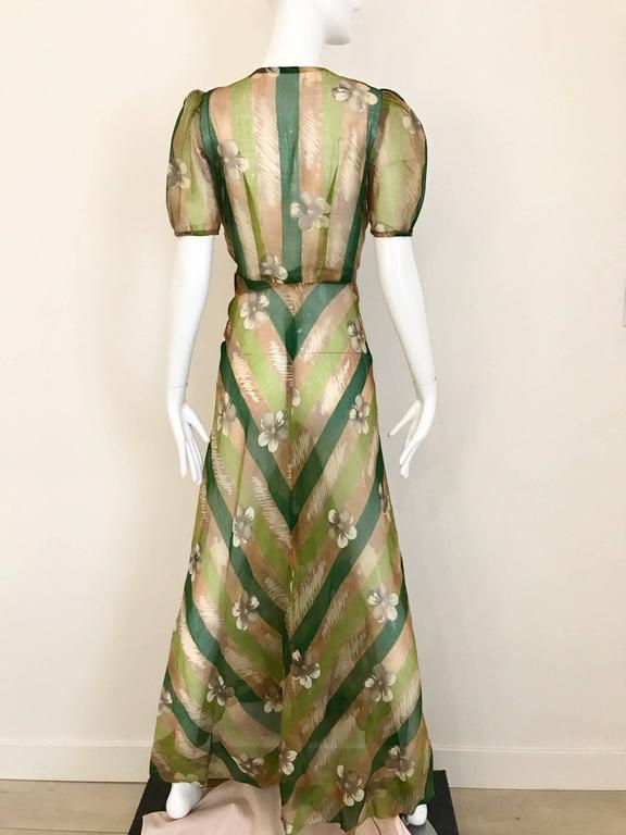 Brown 1930s Green floral print silk organza summer dress For Sale