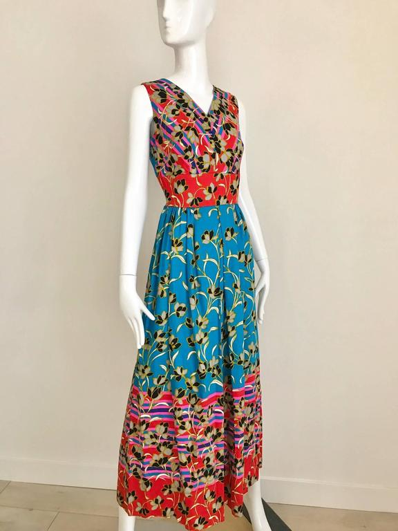 1970s Teal And Red Floral Print Sleeveles Cotton Maxi