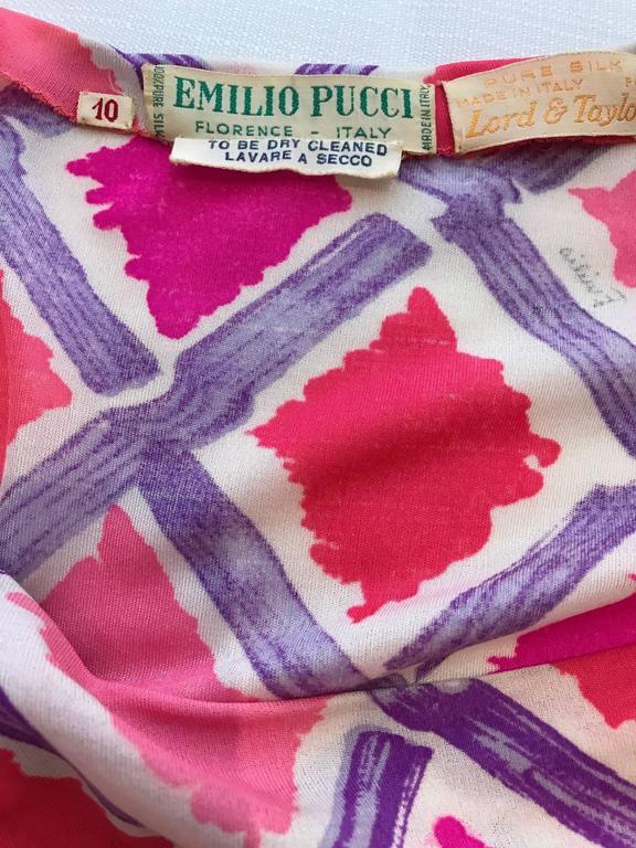 1960s PUCCI Pink and Puple Geometric Diamond Shape Print Jersey Dress 5