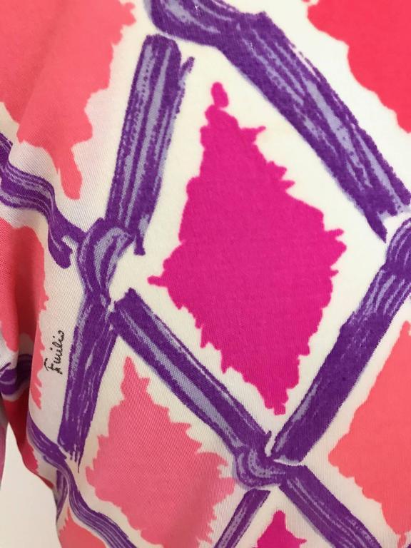 1960s PUCCI Pink and Puple Geometric Diamond Shape Print Jersey Dress 6