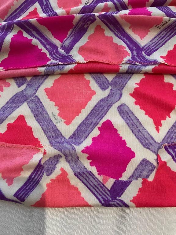 1960s PUCCI Pink and Puple Geometric Diamond Shape Print Jersey Dress 7