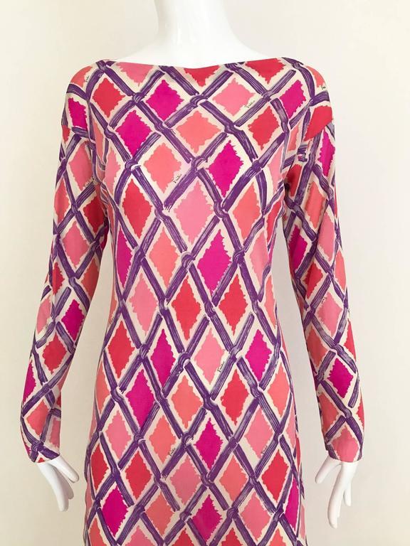 1960s PUCCI Pink and Puple Geometric Diamond Shape Print Jersey Dress 4
