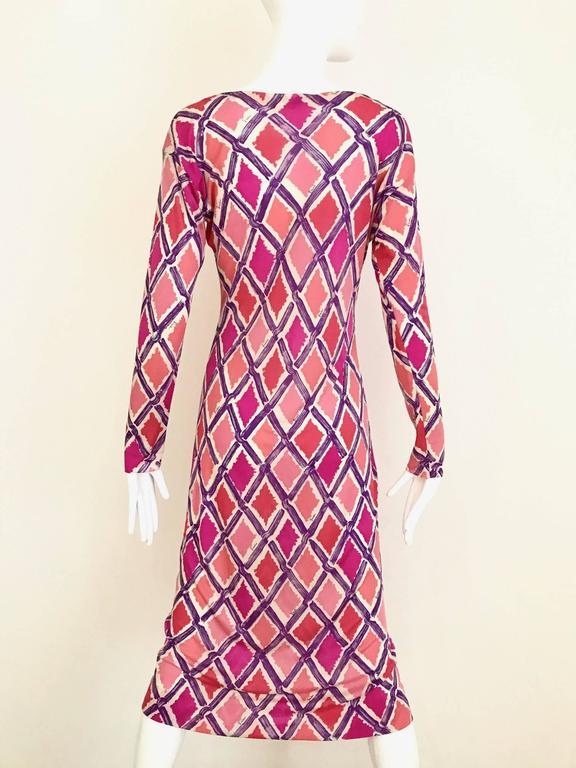 1960s PUCCI Pink and Puple Geometric Diamond Shape Print Jersey Dress 3