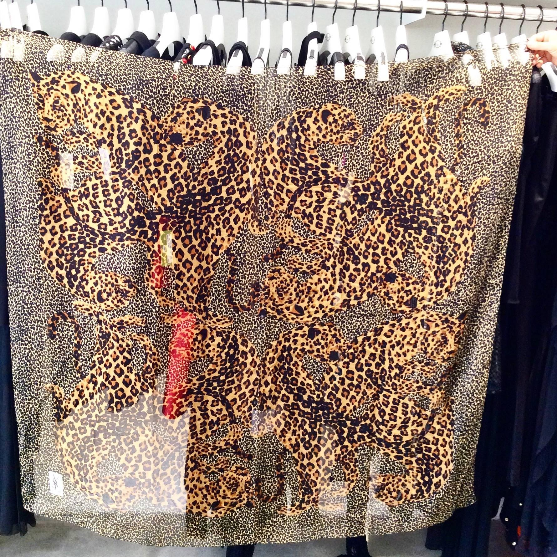 dd358bc6469dc 1980s Yves Saint Laurent Leopard Print Large Silk Scarf at 1stdibs