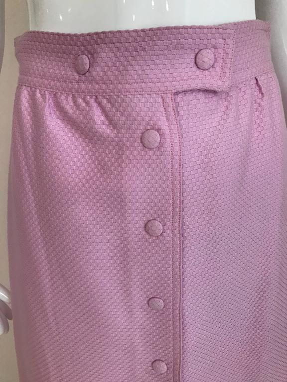 1970s Courrege Pink A Line Maxi Cotton Skirt In Excellent Condition For Sale In Beverly Hills, CA