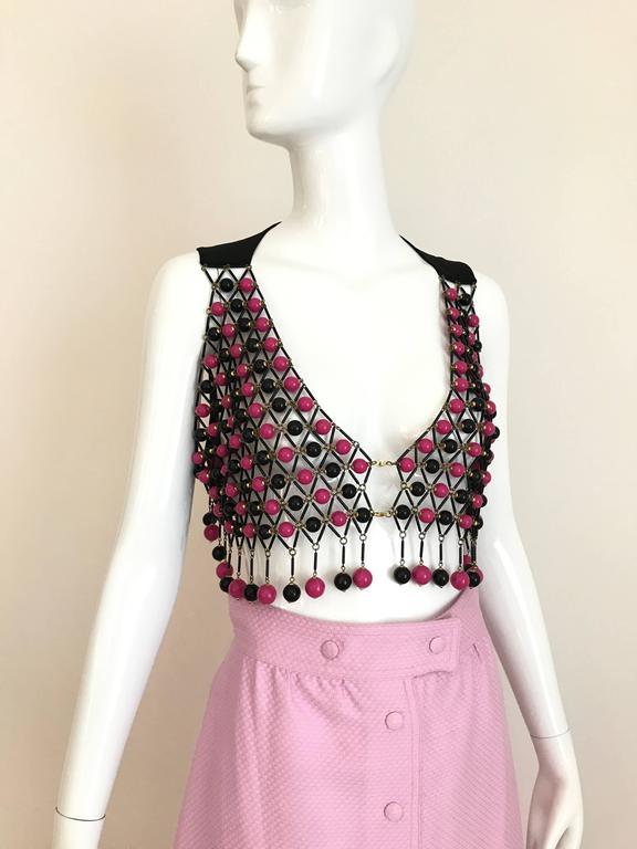 1970s Courrege Pink A Line Maxi Cotton Skirt For Sale 3