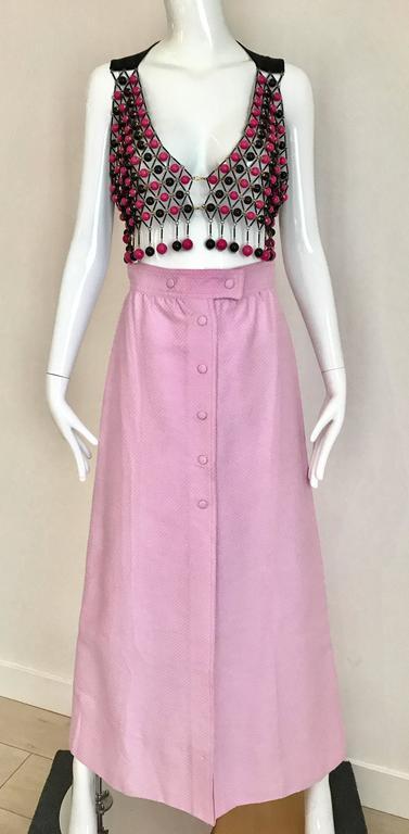 1970s Courrege Pink A Line Maxi Cotton Skirt For Sale 1