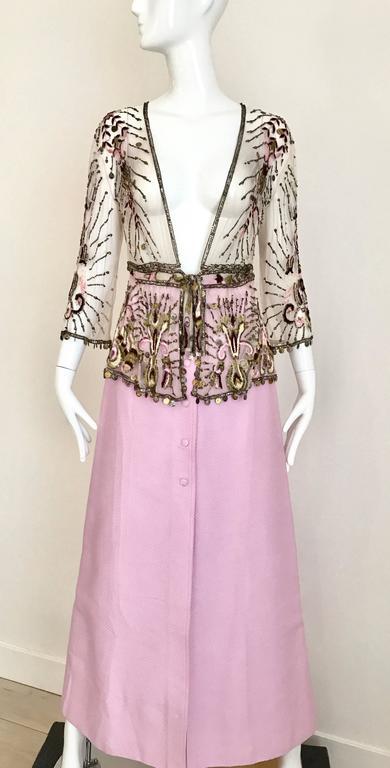 Women's 1970s Courrege Pink A Line Maxi Cotton Skirt For Sale