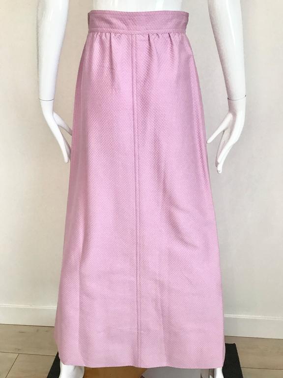 1970s Courrege Pink A Line Maxi Cotton Skirt For Sale 2