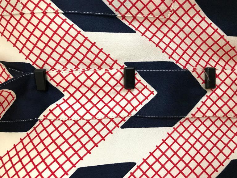 Beige Vintage Giorgio Armani Red and Blue Chevron Print Silk Blouse For Sale