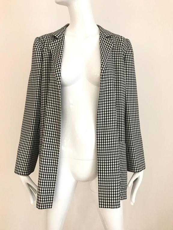 1970s Christian Dior Couture Black and White Checkered Jacket and skirt set For Sale 2