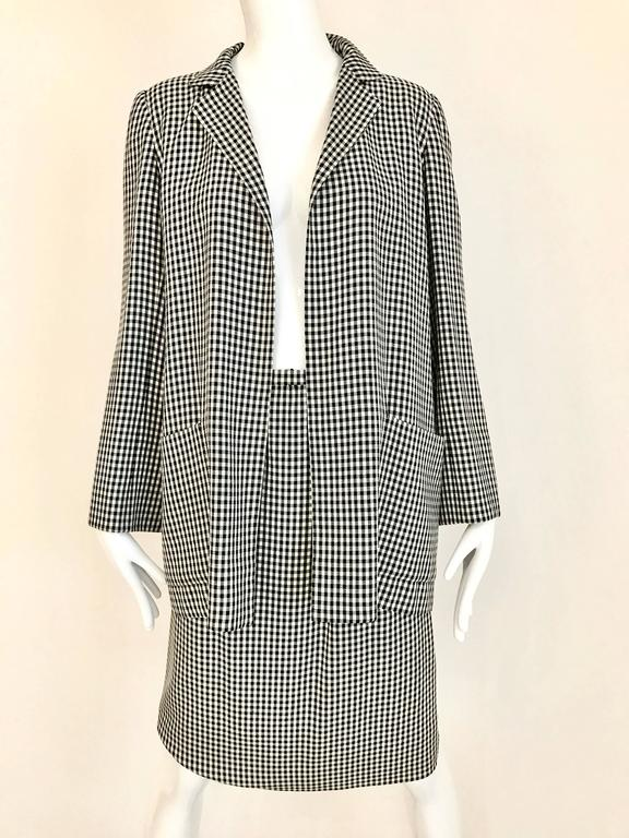 1970s Christian Dior Couture Black and White Checkered Jacket and skirt set In Excellent Condition For Sale In Beverly Hills, CA