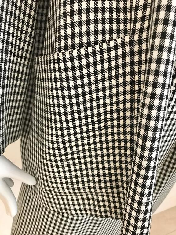 1970s Christian Dior Couture Black and White Checkered Jacket and skirt set For Sale 1