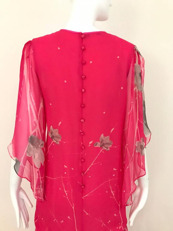 Women's 1970s Hanae Mori Hot Pink Maxi Print Dress For Sale