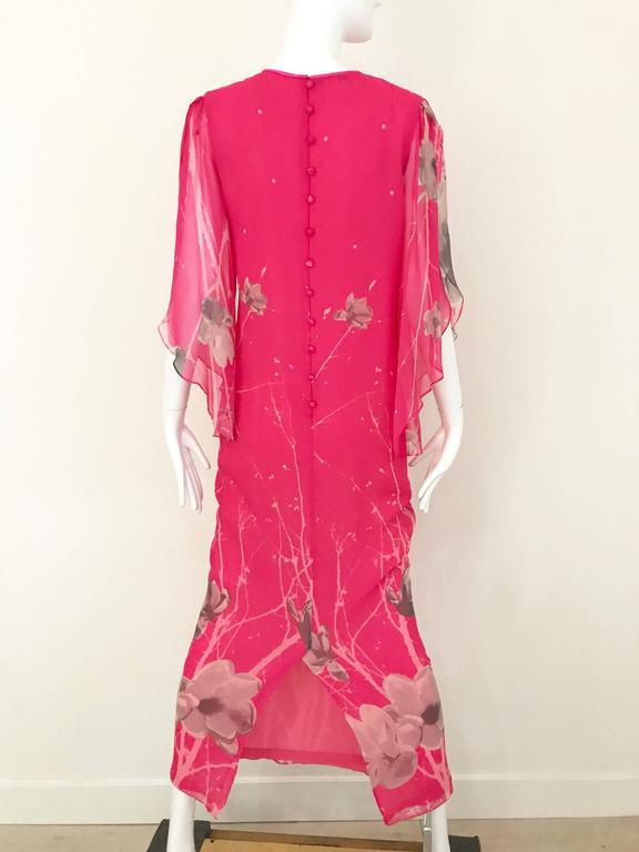 1970s Hanae Mori Hot Pink Maxi Print Dress For Sale 2