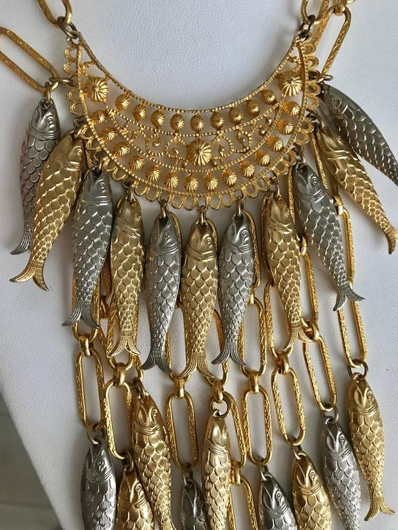 1970s Gold and Silver Fish Bib Necklace with earring set In Good Condition For Sale In Beverly Hills, CA
