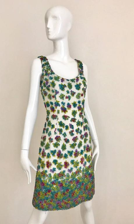1950s Multi Color Beaded Sleeveles Cocktail Dress For Sale