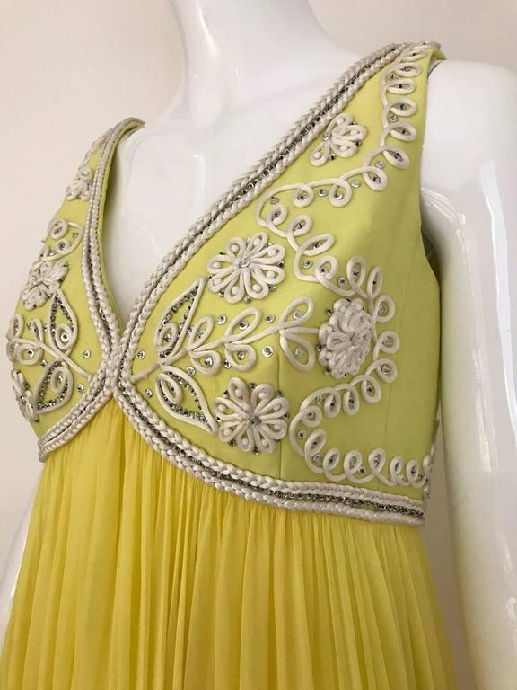 Vintage 1960s Yellow Silk Chiffon Gown with Jacket ...
