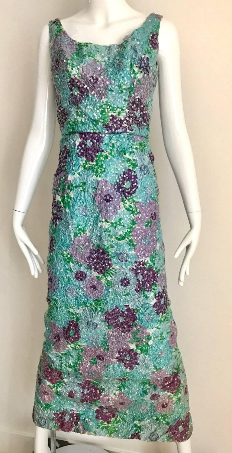 Gray 1960s Watercolor  Blue and Purple Floral Print Sleeveless Sheath Dress For Sale