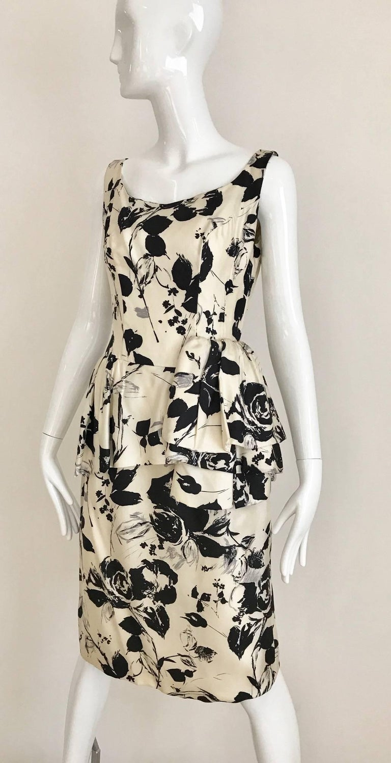 1960s Black and Ivory Floral Print Sleeveless Silk Sheath Vintage 60s Dress 2