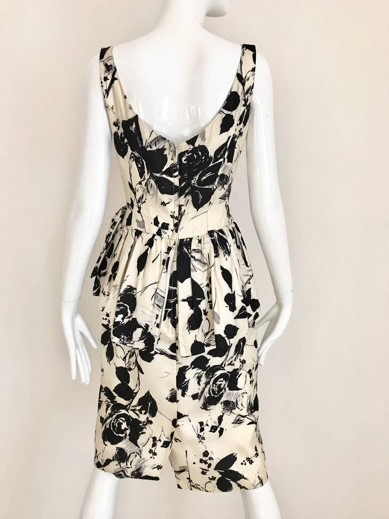 1960s Black and Ivory Floral Print Sleeveless Silk Sheath Vintage 60s Dress 3
