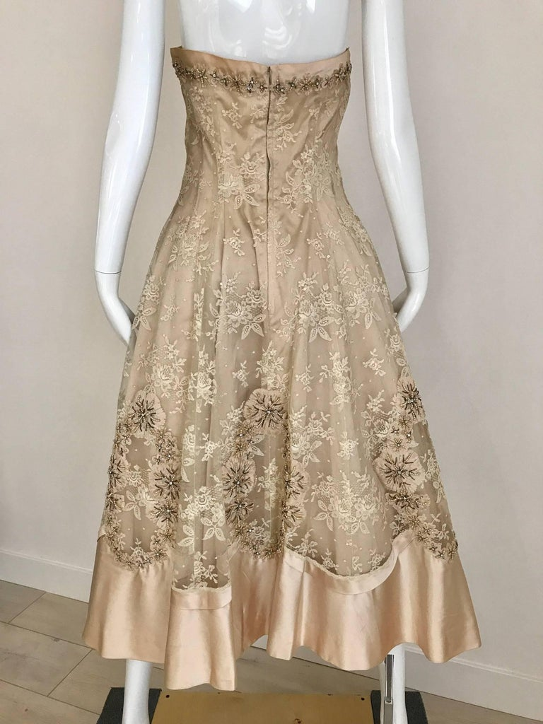 1950s Demi Couture Lace Satin Taupe Embroidered Strapless