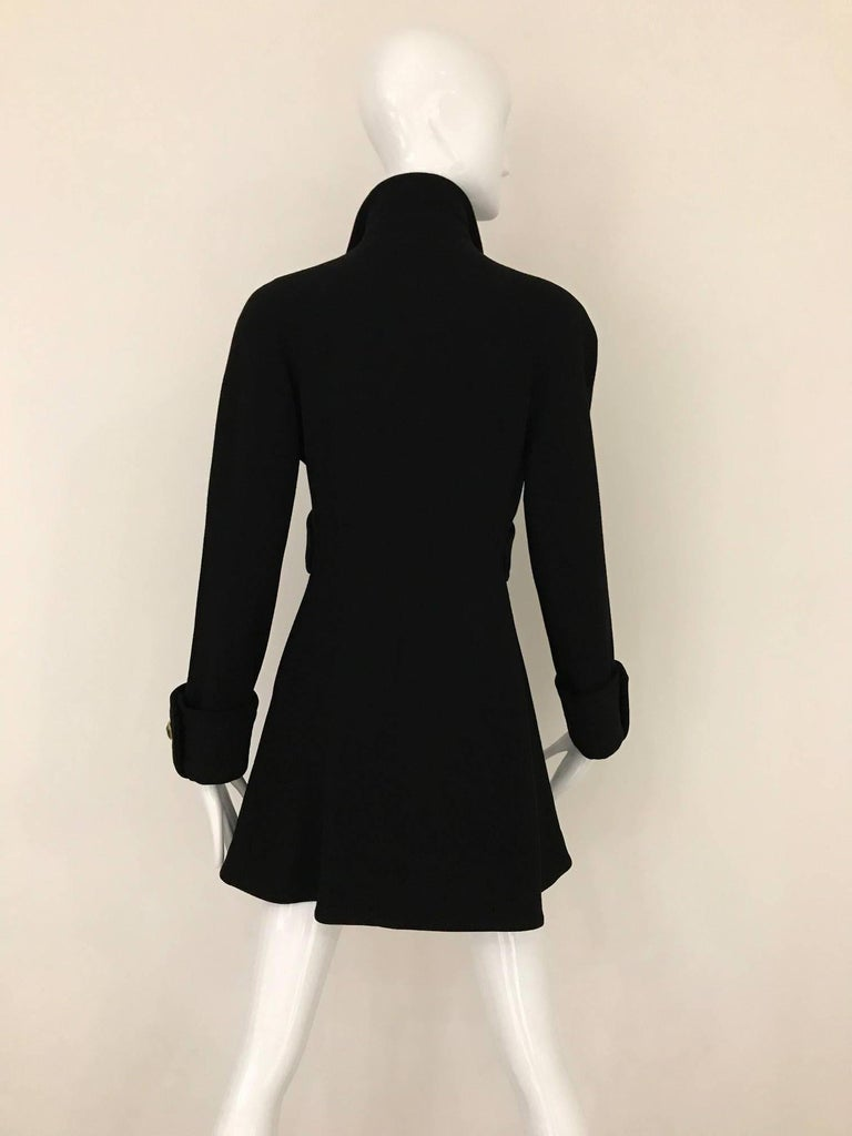 Vintage Gianni Versace Couture 90s Black Peacoat Jacket In Excellent Condition For Sale In Beverly Hills, CA