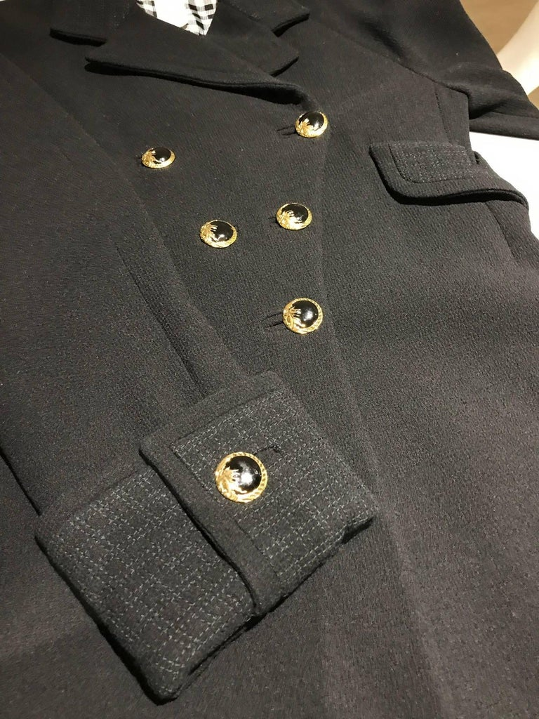 Vintage Gianni Versace Couture 90s Black Peacoat Jacket For Sale 1