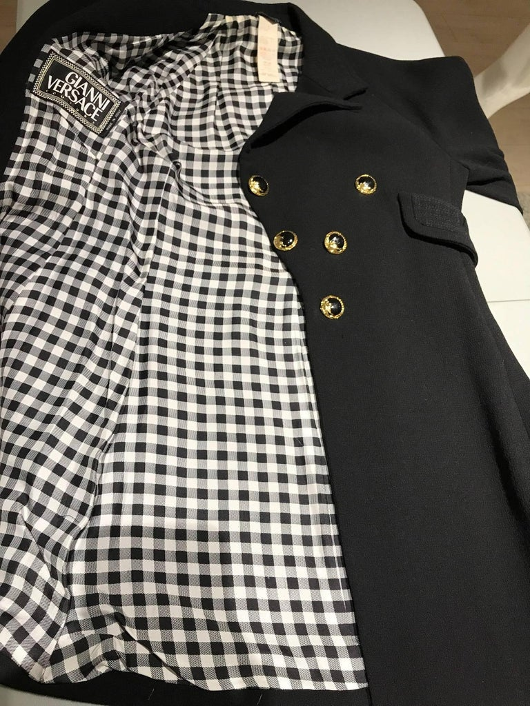 Vintage Gianni Versace Couture 90s Black Peacoat Jacket For Sale 2