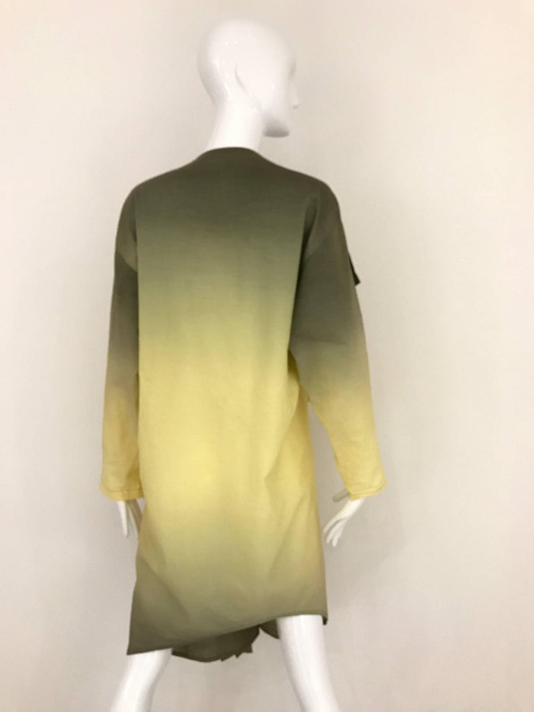 1990s ISSEY MIYAKE Green and Yellow Ombré 90s Cotton Vintage Dress In Good Condition For Sale In Beverly Hills, CA